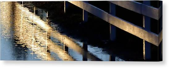 Canvas Print featuring the photograph Reflected Fence At Sunrise P by Jerry Sodorff