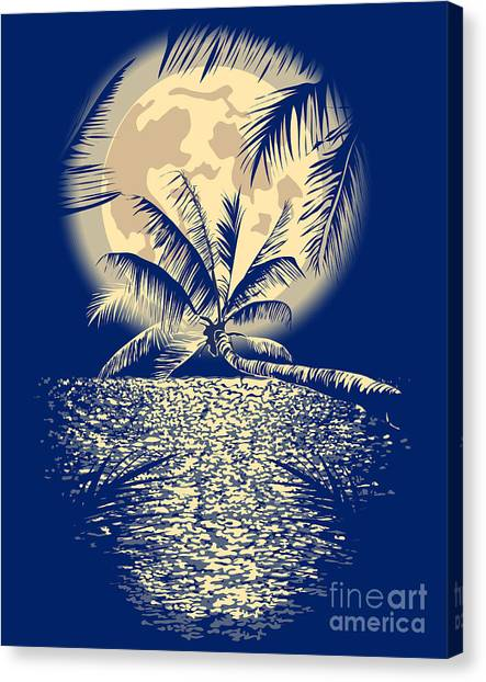 Shadow Canvas Print - Reflected In The Ocean Full Moon On by Yulianas
