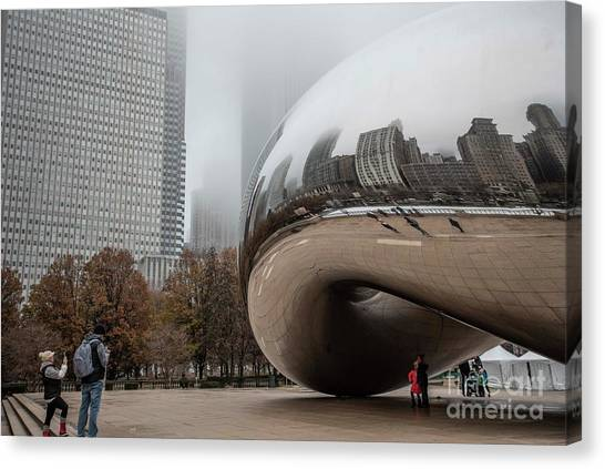 Cloudgate Canvas Print - Reflecting Chicago by David Bearden