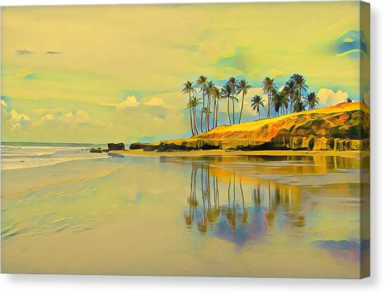 Reflection Of Coastal Palm Trees Canvas Print