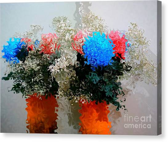 Reflection Of Flowers In The Mirror In Van Gogh Style Canvas Print