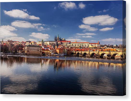 Reflections Of Prague Canvas Print by Andrew Soundarajan