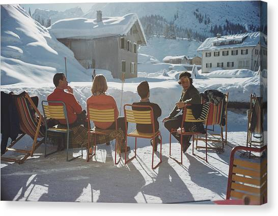 Relaxing In Lech Canvas Print by Slim Aarons