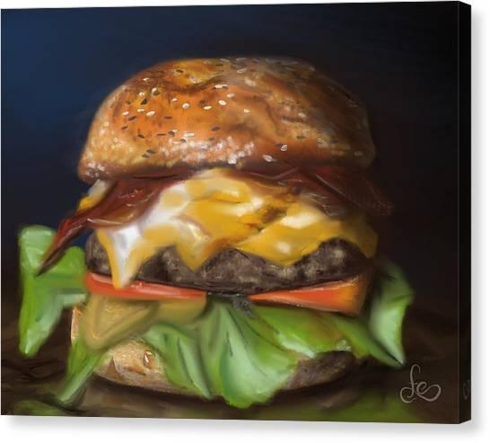 Canvas Print featuring the pastel Renaissance Burger  by Fe Jones