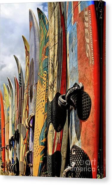 Surfboard Fence Canvas Print - Repurposed by DJ Florek
