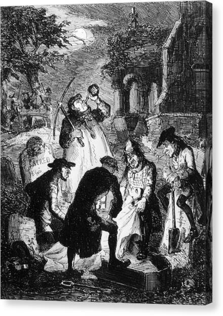 Resurrectionists At Work Canvas Print by Hulton Archive