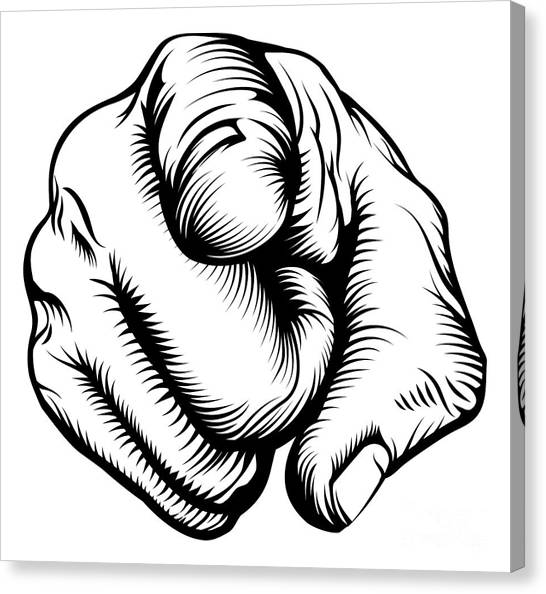Rights Canvas Print - Retro Black Woodcut Print Style Hand by Christos Georghiou