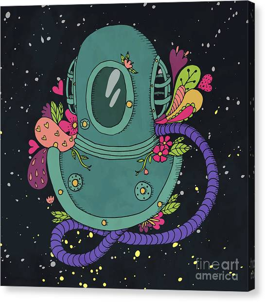 Imagery Canvas Print - Retro Diving Suit With Abstract by Maria Sem