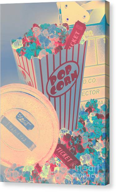 Popcorn Canvas Print - Retro Flicks by Jorgo Photography - Wall Art Gallery
