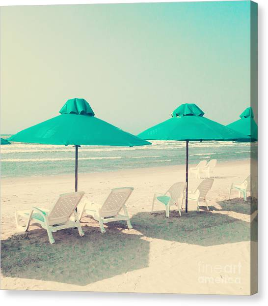 Retro Pastel Beach Canvas Print by Andrekart Photography