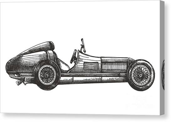 Trip Canvas Print - Retro Racing Car On A White Background by Ava Bitter