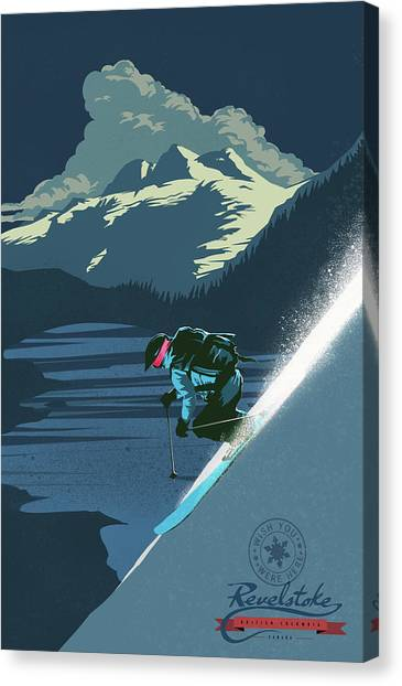 Canvas Print featuring the painting Retro Revelstoke Ski Poster by Sassan Filsoof