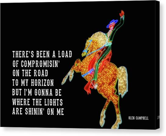 Canvas Print featuring the photograph Rhinestone Cowboy Quote by JAMART Photography