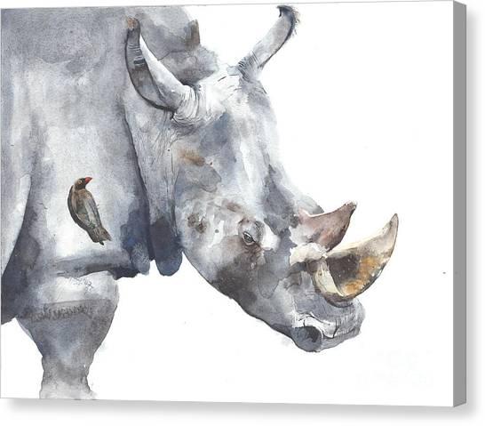 Grey Background Canvas Print - Rhinoceros Safari African Animal by Yulia She