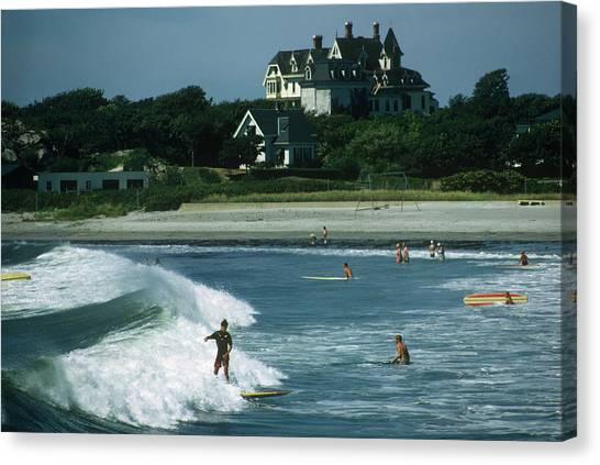 Rhode Island Surfers Canvas Print by Slim Aarons
