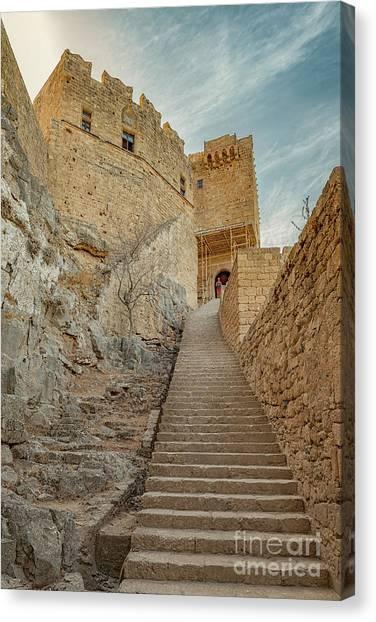 Hellenistic Art Canvas Print - Rhodes Lindos Acropolis Staircase Entrance by Antony McAulay