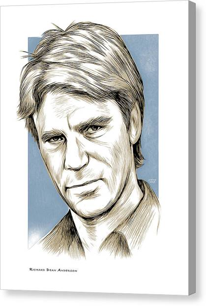 Mixed-media Canvas Print - Richard Dean Anderson Color by Greg Joens