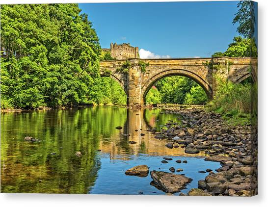 Richmond Castle And The River Swale Canvas Print by David Ross