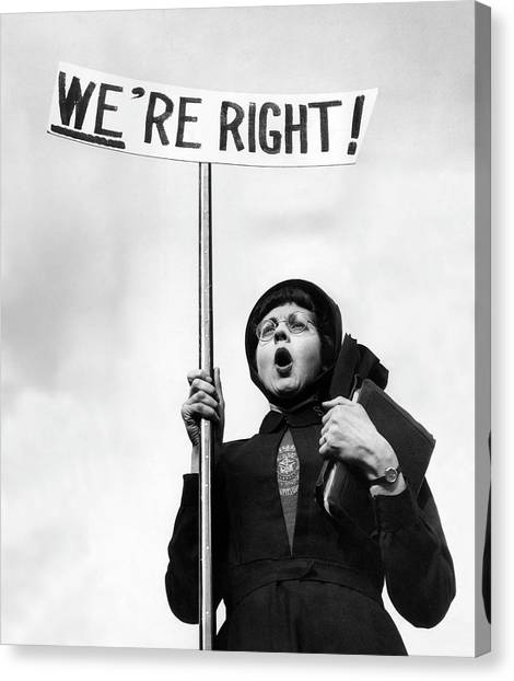 Placard Canvas Print - Righteous by John Chillingworth