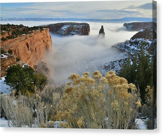 Rim Rock Drive View Of Fogged Independence Canyon Canvas Print