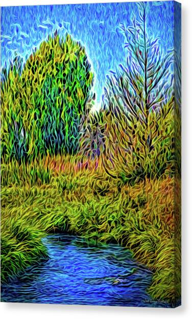 Canvas Print featuring the digital art River Aura Melody by Joel Bruce Wallach