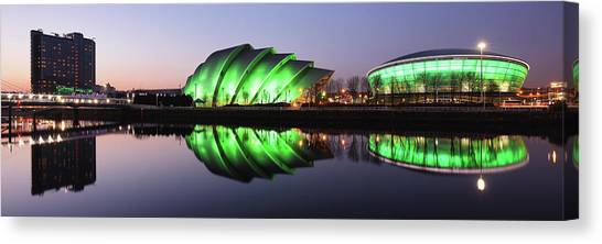 Canvas Print featuring the photograph River Clyde Waterfron Twilight Reflections by Grant Glendinning