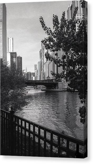 River Fence Canvas Print