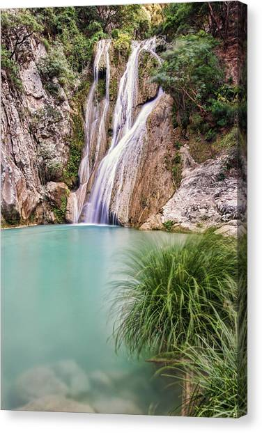 Canvas Print featuring the photograph River Neda Waterfalls by Milan Ljubisavljevic