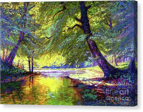 Woodland Canvas Print - River Of Gold by Jane Small