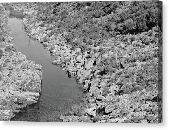 River On The Rocks. Bw Version Canvas Print