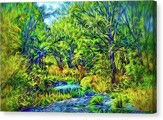Canvas Print featuring the digital art River Rapture Flowing by Joel Bruce Wallach