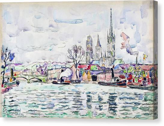 Signac Canvas Print - River Scene, Rouen - Digital Remastered Edition by Paul Signac