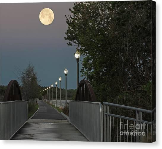 River Walk Moon Rise Canvas Print