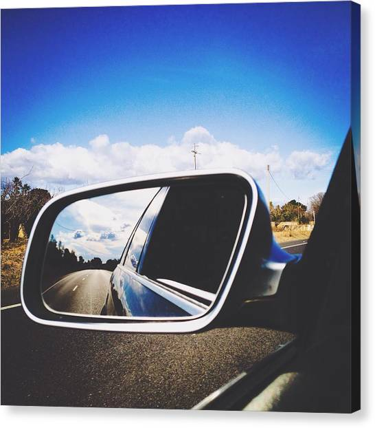 Road Reflecting On Side-view Mirror Canvas Print by Jessica Gimenez / Eyeem