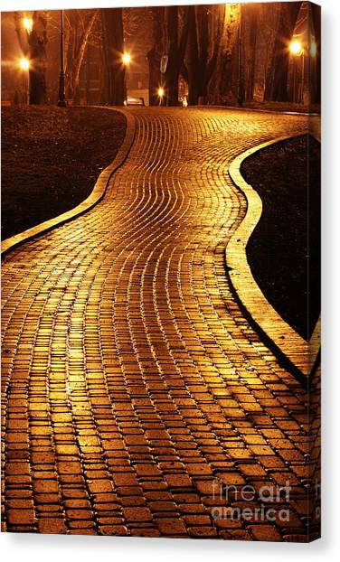 Late Canvas Print - Road To Mariinsky Park At Night In by Taras Verkhovynets