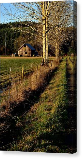 Canvas Print featuring the photograph Road To The Barn by Jerry Sodorff