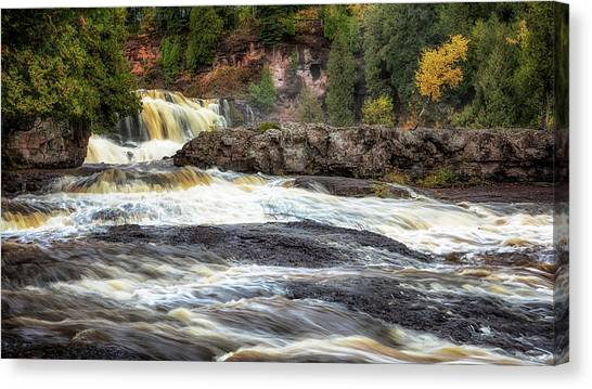 Canvas Print featuring the photograph Roaring Gooseberry Falls by Susan Rissi Tregoning