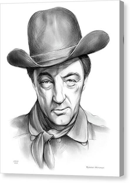 American Cowboy Canvas Print - Robert Mitchum Cowboy by Greg Joens