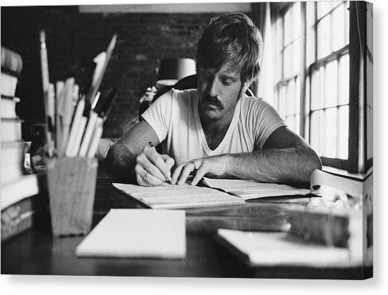 Casual Canvas Print - Robert Redford Writing At Desk by John Dominis