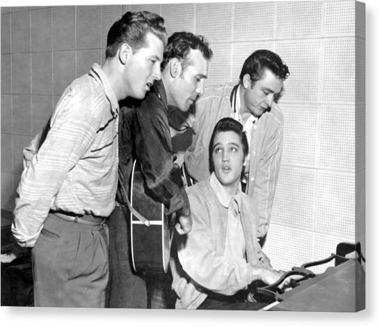 Rock And Roll Musicians Jerry Lee Canvas Print by Michael Ochs Archives