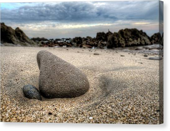 Rock On Beach Canvas Print