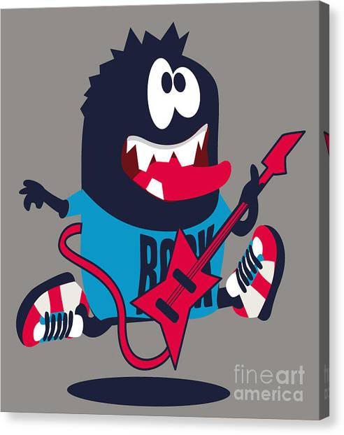 Rocker Canvas Print - Rock, Rocker  Monster by Braingraph