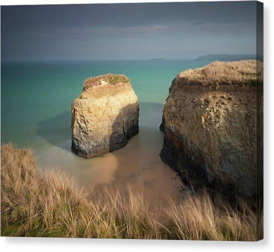 Cliff Burton Canvas Print - Rock Stack On The Sandy Beach At by Adam Burton / Robertharding