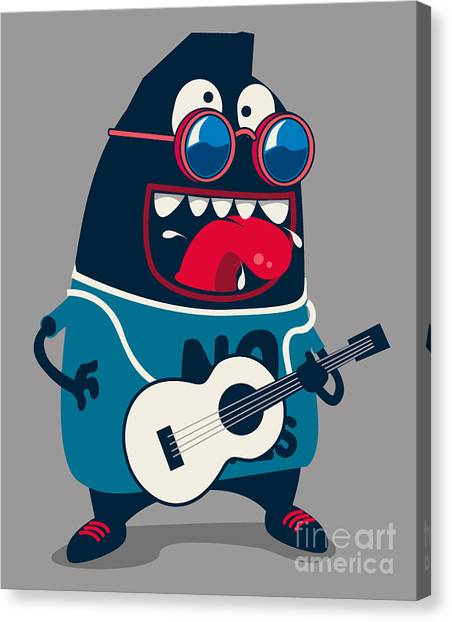 Rocker Canvas Print - Rock Star Monster, Guitar by Braingraph