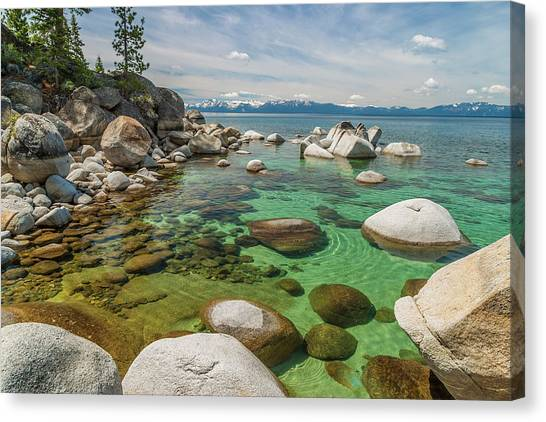Rocks At Edge Of Lake, Lake Tahoe, Usa Canvas Print