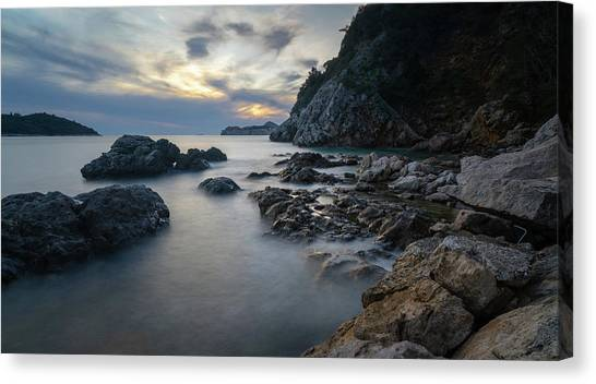 Canvas Print featuring the photograph Rocky Coast Near Dubrovnik by Milan Ljubisavljevic