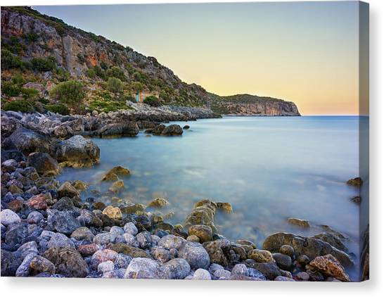 Canvas Print featuring the photograph Rocky Coast Near Monemvasia by Milan Ljubisavljevic