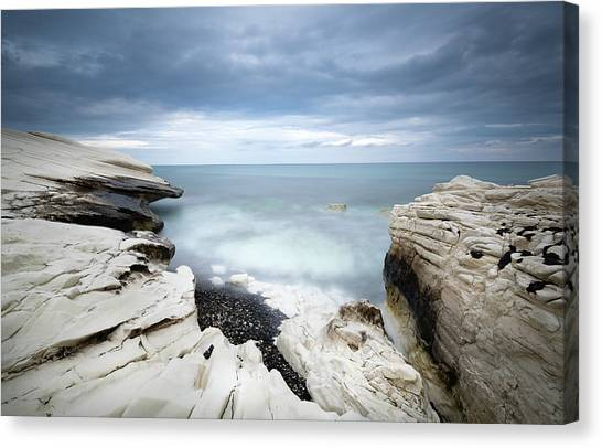 Rocky Coast With White Limestones And Cloudy Sky Canvas Print