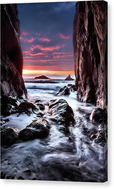 Canvas Print featuring the photograph Rocky Cove Sunset by Leland D Howard