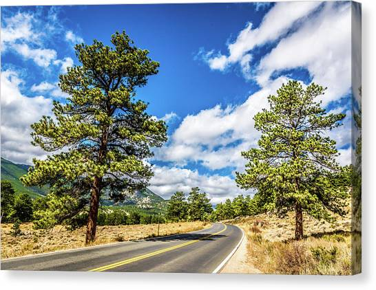 Canvas Print featuring the photograph Rocky Mountain Highway by James L Bartlett
